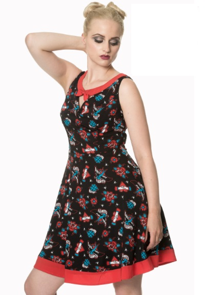 Dámské šaty Rockabilly Retro Pin Up Banned Regret Nothing Bow Dress