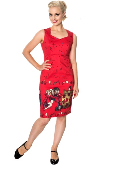 Dámské šaty Rockabilly Retro Pin Up Banned Vanity Pencil Dress