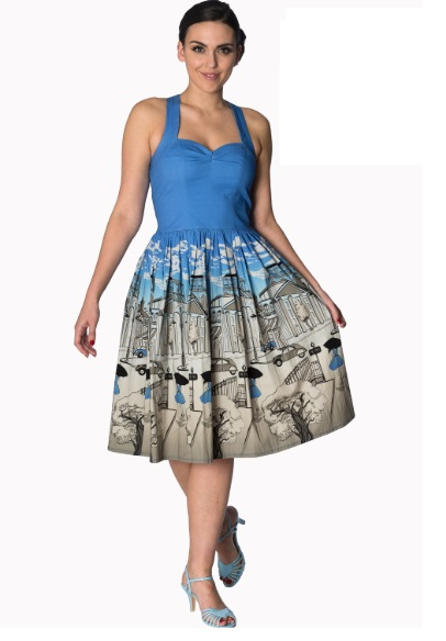 Dámské šaty Rockabilly Retro Pin Up Banned Paris Strapy Dress