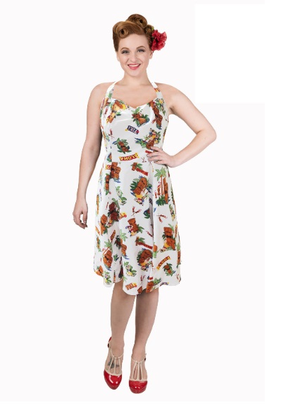 Dámské šaty Rockabilly Retro Pin Up Banned Dreamer Halterneck Dress