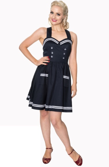 Dámské šaty Rockabilly Retro Pin Up Banned Where To Next Dress Blue