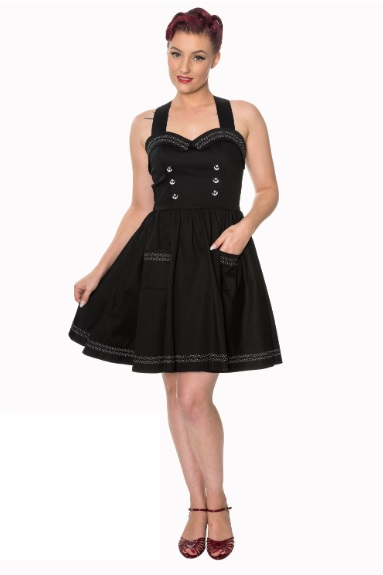 Dámské šaty Rockabilly Retro Pin Up Banned Where To Next Dress Blk